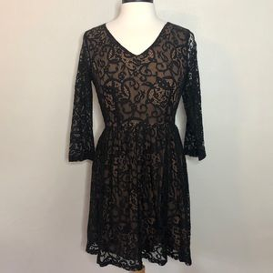 Pinky Black Lace Lined Dress
